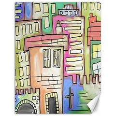 A Village Drawn In A Doodle Style Canvas 12  x 16