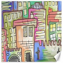 A Village Drawn In A Doodle Style Canvas 20  x 20