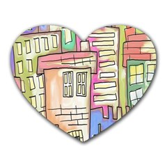 A Village Drawn In A Doodle Style Heart Mousepads