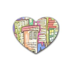 A Village Drawn In A Doodle Style Heart Coaster (4 pack)