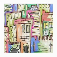 A Village Drawn In A Doodle Style Medium Glasses Cloth (2-Side)