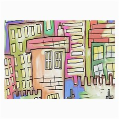 A Village Drawn In A Doodle Style Large Glasses Cloth