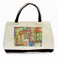 A Village Drawn In A Doodle Style Basic Tote Bag (Two Sides)
