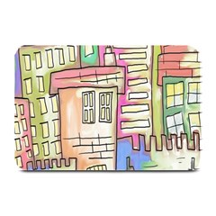 A Village Drawn In A Doodle Style Plate Mats