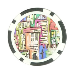 A Village Drawn In A Doodle Style Poker Chip Card Guard