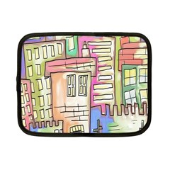 A Village Drawn In A Doodle Style Netbook Case (small)