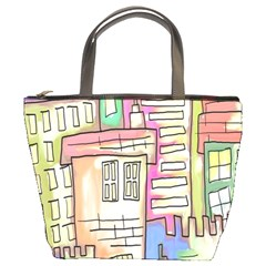 A Village Drawn In A Doodle Style Bucket Bags