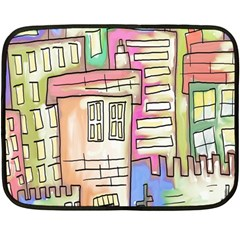 A Village Drawn In A Doodle Style Double Sided Fleece Blanket (mini)