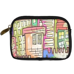 A Village Drawn In A Doodle Style Digital Camera Cases