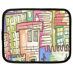 A Village Drawn In A Doodle Style Netbook Case (xl)