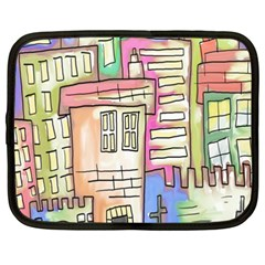 A Village Drawn In A Doodle Style Netbook Case (XXL)
