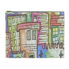 A Village Drawn In A Doodle Style Cosmetic Bag (xl)