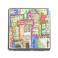 A Village Drawn In A Doodle Style Memory Card Reader (square)
