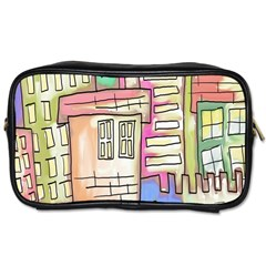 A Village Drawn In A Doodle Style Toiletries Bags