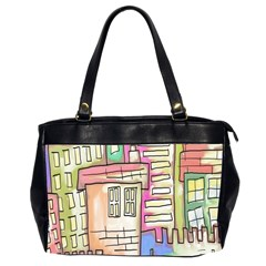 A Village Drawn In A Doodle Style Office Handbags (2 Sides)