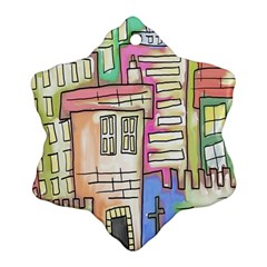 A Village Drawn In A Doodle Style Ornament (snowflake)
