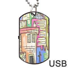 A Village Drawn In A Doodle Style Dog Tag USB Flash (Two Sides)