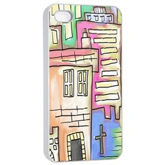A Village Drawn In A Doodle Style Apple iPhone 4/4s Seamless Case (White)