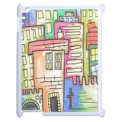 A Village Drawn In A Doodle Style Apple iPad 2 Case (White)