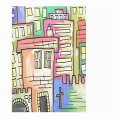 A Village Drawn In A Doodle Style Large Garden Flag (two Sides)