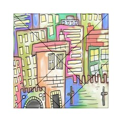 A Village Drawn In A Doodle Style Acrylic Tangram Puzzle (6  x 6 )