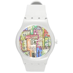 A Village Drawn In A Doodle Style Round Plastic Sport Watch (m)