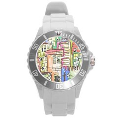 A Village Drawn In A Doodle Style Round Plastic Sport Watch (L)