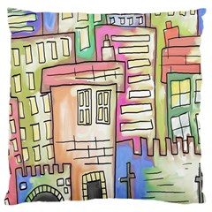 A Village Drawn In A Doodle Style Large Cushion Case (One Side)