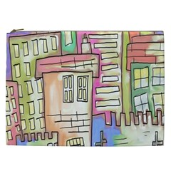 A Village Drawn In A Doodle Style Cosmetic Bag (XXL)