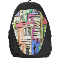 A Village Drawn In A Doodle Style Backpack Bag