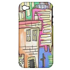 A Village Drawn In A Doodle Style Apple Iphone 4/4s Hardshell Case (pc+silicone)