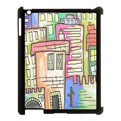 A Village Drawn In A Doodle Style Apple Ipad 3/4 Case (black)