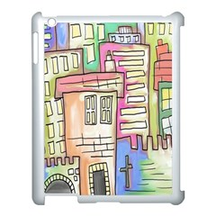 A Village Drawn In A Doodle Style Apple iPad 3/4 Case (White)
