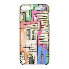 A Village Drawn In A Doodle Style Apple Ipod Touch 5 Hardshell Case With Stand