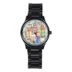 A Village Drawn In A Doodle Style Stainless Steel Round Watch