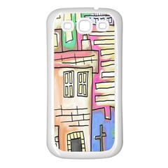 A Village Drawn In A Doodle Style Samsung Galaxy S3 Back Case (white)