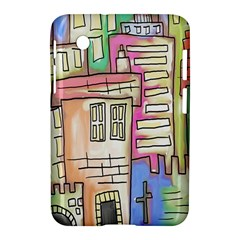 A Village Drawn In A Doodle Style Samsung Galaxy Tab 2 (7 ) P3100 Hardshell Case