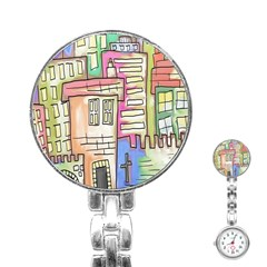 A Village Drawn In A Doodle Style Stainless Steel Nurses Watch