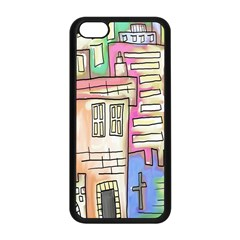 A Village Drawn In A Doodle Style Apple iPhone 5C Seamless Case (Black)