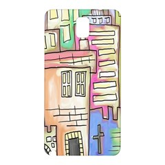 A Village Drawn In A Doodle Style Samsung Galaxy Note 3 N9005 Hardshell Back Case