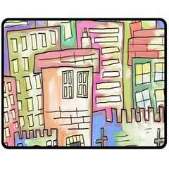 A Village Drawn In A Doodle Style Double Sided Fleece Blanket (Medium)