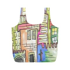 A Village Drawn In A Doodle Style Full Print Recycle Bags (m)