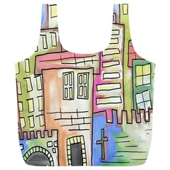 A Village Drawn In A Doodle Style Full Print Recycle Bags (L)
