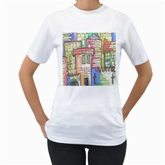 A Village Drawn In A Doodle Style Women s T Shirt (white)