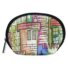A Village Drawn In A Doodle Style Accessory Pouches (Medium)
