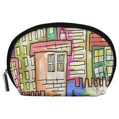 A Village Drawn In A Doodle Style Accessory Pouches (Large)