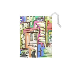 A Village Drawn In A Doodle Style Drawstring Pouches (Small)