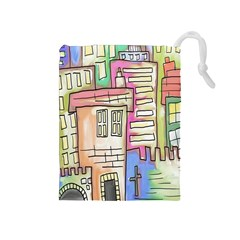 A Village Drawn In A Doodle Style Drawstring Pouches (medium)