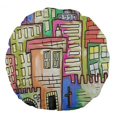 A Village Drawn In A Doodle Style Large 18  Premium Flano Round Cushions