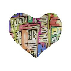 A Village Drawn In A Doodle Style Standard 16  Premium Flano Heart Shape Cushions